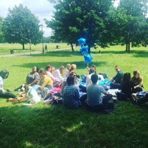 Some balloons at a recent meetup on Clapham Common.