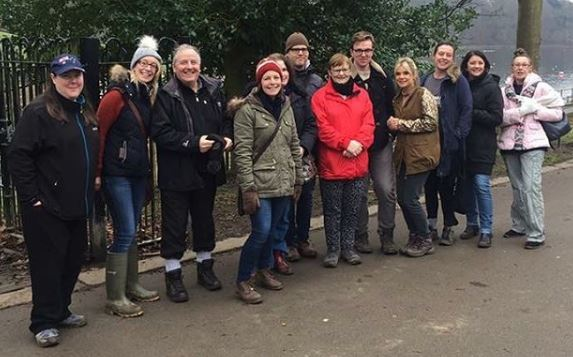 Roundhay Park Leeds mental health support group walk attendees in winter coats