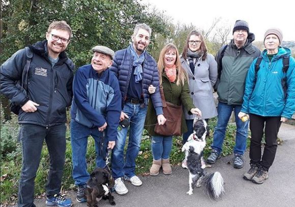Mental Health Mates walkers in a line after Stoke-on-Trent walk for people with mental health issues
